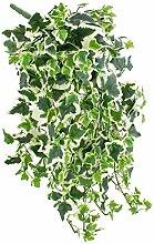 Deko Efeu-Pflanze classic, 480 Blätter, grün-weiß, 45cm - Künstliche Ranke / Kunstpflanze Efeu - artplants