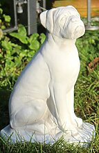 Deko Figur Boxer H 32 cm Tierskulptur aus Beton