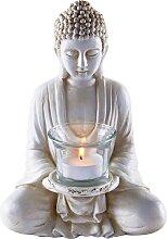 Deko-Figur Buddha mit Teelichthalter, weiß