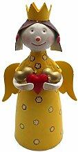 Deko Figur Engel Blechfigur Zaunhocker Dekoration Metall Handbemalt Bunt Garten Wohung Weihnachtsdeko (Farbauswahl) - Gall&Zick (Gelb)