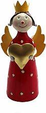 Deko Figur Engel Blechfigur Zaunhocker Dekoration Metall Handbemalt Bunt Garten Wohung Weihnachtsdeko (Farbauswahl) - Gall&Zick (Rot)