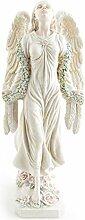Deko Figur Engel Schutzengel Statue 46 cm groß aus Polystein weiß, Dekofigur Gartenfigur Gartendeko Zauberwelt Elbenland