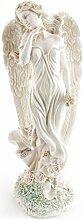 Deko Figur Engel Schutzengel Statue 48 cm groß aus Polystein weiß, Dekofigur Engelfigur Gartenfigur Gartendeko Zauberwelt Elbenland