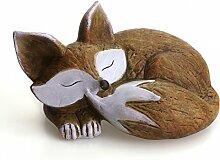 Deko Figur Fuchs liegend schlafend 20 x 14 x 11 cm groß, Keramik braun weiß, Dekofigur Keramikfigur Herbst Winter Waldtier Gartenfigur Gartendeko Herbstdeko