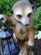 Deko Figur Gartendeko Gartenfigur Erdmännchen mit LED Solarlaterne wetterfest - liebevoll detailliert handgefertigt und handbemal