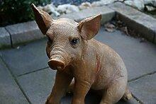 Deko Figur Gartendeko Gartenfigur Schwein sitzend 45 cm hoch wetterfest Statue - liebevoll detailliert und lebensecht gestaltetet Figur Ferkel wetterfest frostfest Dekostatue