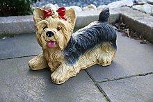 Deko Figur Gartendeko Statue Skulptur Hund Yorkshire wetterfest Garten Tierfigur Hund Figur liegend groß