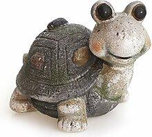 Deko Figur Gartenfigur Schildkröte 16 x 12 x 13 aus Ton matt grau Stein Optik mit Steindeko, Dekofigur witzige Gartendeko Steintier