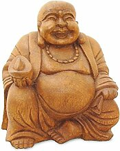 Deko Figur Happy Buddha sitzend aus Soar Holz