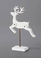 Deko-Figur Hirsch auf Ständer, weiß