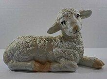 Deko Figur Lamm liegend Kopf gerade H 18 cm