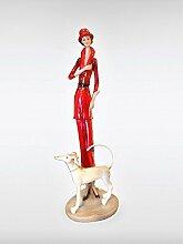 Deko Figur Skulptur Parade Woman rot
