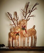 Deko Figur Weihnachten Rentier beleuchtet