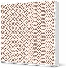 Deko-Folie für IKEA Pax Schrank 201 cm Höhe - Schiebetür   Möbelfolie Klebesticker Tapete Folie Möbel folieren   kreative Wohnideen Wohnzimmer-Dekoration Innendeko   Ornament Retro Pattern - Ro