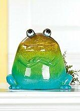 Deko Frosch 'Archipel', 22 cm, grün-blau-braun