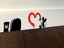 Deko für Sockelleiste, Maus Graffiti Herz, Wandaufkleber, selbstklebend
