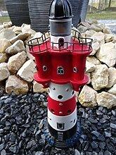 Deko Gartendeko Figur Garten Leuchtturm mit LED Blinklicht 30cm hoch Roter Sand Gartenleuchttum mit Blinklicht wetterfest mit Stromanschluss und Schukostecker