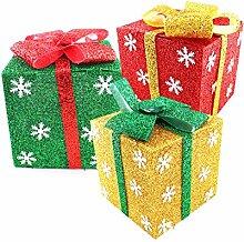 Deko-Geschenkpaket Geschenk-Box Geschenk-Schachtel Set ( Grün - Gold - Rot - Größe S ) Ornament Schmuck Verzierung Weihnachten Party-Dekoration