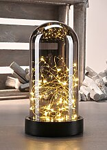 Deko Glasglocke mit Mini - LED Lichterdrah