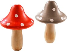 Deko-Holz-Pilze, 2er-Set, beige