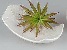 Deko Kerzenschale WHITESTONE L. 23cm weiß grau