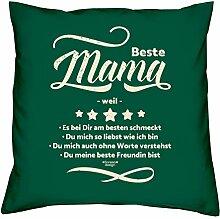 Deko Kissen Beste Mama weil als Valentinstagsgeschenk Geburtstagsgeschenk Geschenkidee für Sie Frauen Mutter Farbe: dunkelgrün