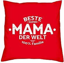 Deko Kissen mit Füllung :-: Größe: 40x40 cm :-: Beste Mama der Welt :-: Geschenkidee Mutter Geburtstagsgeschenk Farbe: ro