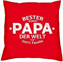 Deko Kissen mit Füllung :-: Größe: 40x40 cm :-: Bester Papa der Welt :-: Geschenkidee Vater Geburtstagsgeschenk Farbe: ro