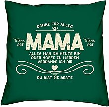Deko Kissen mit Füllung :-: Größe: 40x40 cm :-: Danke Mama :-: Geschenkidee Mutter Geburtstagsgeschenk Farbe: dunkelgrün