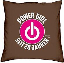 Deko Kissen mit Füllung Größe: 40x40 cm Geburtstagsgeschenk für Frauen Sie Powergirl Geschenk zum 20. Geburtstag Power Girl seit 20 Jahren Farbe: braun