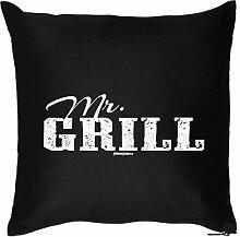 Deko Kissen Thema Grillen / Sommer Party Deko : Mr / Mr. Grill --- Kissen mit Füllung Farbe:schwarz