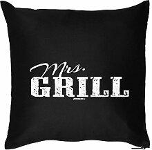 Deko Kissen Thema Grillen / Sommer Party Deko : Mrs / Mrs. Grill --- Kissen mit Füllung Farbe:schwarz