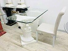 Deko-König Barock Säulen Tisch mit Glasplatte
