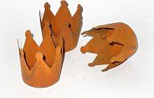 Deko-Krone aus Metall rost 4,5 cm 4er-Set