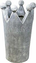 Deko Krone, Fiberclay, grau, 44 cm,