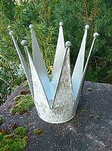 Deko-Krone Windlicht Gartendeko Pflanztopf Eisen Antik-Patina 17 cm