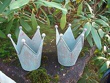 Deko-Kronen, 2er -Set, Windlicht Gartendeko Pflanztopf Eisen blau-grün
