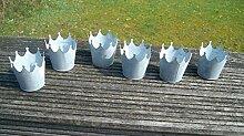Deko-Kronen, 6er -Set, Windlicht, Gartendeko Pflanztopf Eisen verzink