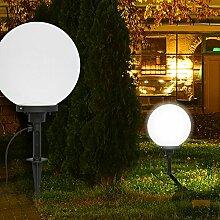 Deko Kugel Erdspieß Leuchte ↥600mm/ Klassisch/ Weiß/ Glas/ AUSSEN Lampe Aussenlampe Aussenleuchte Erdspießlampe Erdspießleuchte Gartenlampe Gartenleuchte