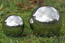 Deko Kugel Galaxy 27 cm Durchmesser aus silber poliertem Edelstahl für Innen und Außen