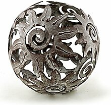 Deko Kugel Metallkugel im Sonnendesign Ø 10 cm aus Metall Antik Style grau gewischt, Gartendeko Tischdeko Sonne Metallsonne Feng Shui