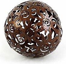 Deko Kugel Metallkugel im Sonnendesign Ø 13,5 cm aus Metall Antik Style rostbraun, Gartendeko Tischdeko Sonne Metallsonne Feng Shui