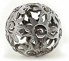 Deko Kugel Metallkugel im Sonnendesign Ø 14 cm aus Metall Antik Style grau gewischt, Gartendeko Tischdeko Sonne Metallsonne Feng Shui