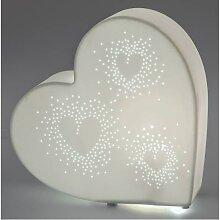 Deko Lampe, Leuchte HERZ liegend D. 26cm weiß Keramik Formano (39,00 EUR / Stück)