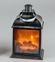 Deko Laterne, Lampe Leuchte Kaminfeuer H. 22cm