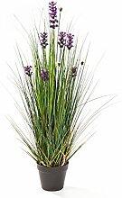 Deko Lavendel Gras mit 575 Halmen,11 Blüten, lila, 90 cm - Künstlicher Grasbüschel / Kunstlavendel - artplants