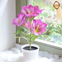 Deko LED Lilie weiß lila beleuchtet Batterie