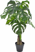 Deko Monstera Deliciosa, 12 Blätter, Dekotopf, grün, 90 cm, wetterfest - Kunstpflanze / Grüne Pflanze künstlich - artplants