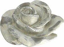 Deko Rose, Keramik, creme weiß, 21 cm, Gartendeko