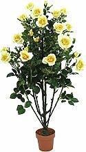 Deko Rosenbusch, 29 Blüten, 850 Blätter, gelb, 140 cm - Künstliche Pflanze im Topf / Kunstrosen - artplants